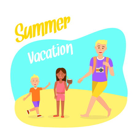 Travel Postcard with Summer Vacation Lettering. Holiday, Recreation Vector Postcard with Lettering. Parent with Children Cartoon Characters. Tourist with Backpack. Holidaymakers on Beach Flat Clipart