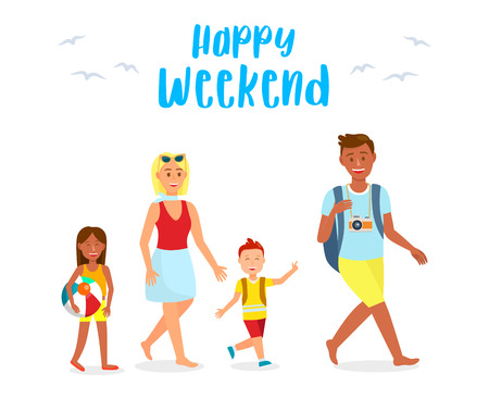 Holidaymakers, Tourists Cartoon Characters Set. Travel Postcard with Text. Happy Weekend Lettering. Family Members Isolated Illustrations Pack. Tanned Photographer with Camera. Blonde Lady. Boy, Girl