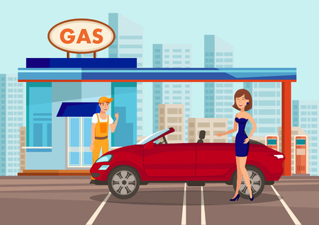 Woman at Filling Center Vector Color Illustration. Employee in Overalls and Female in Dress Cartoon Characters. Cabriolet at Gasoline Refill Center. Transport Fueling Service. Petroleum Industry
