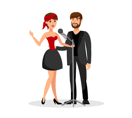 Man and Woman Duet Singing Together in Microphone. Two Vocalists Cartoon Characters. Male and Female Singers Performing on Stage Isolated Design Element. Happy Couple Enjoy Karaoke Party Иллюстрация