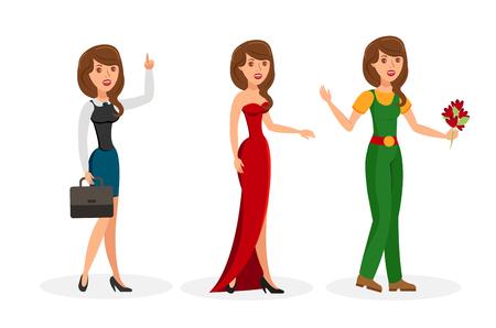 Dziewczyny kreskówka wektor zestaw znaków na białym tle kolor. Formalny, wieczorowy, swobodny strój, strój. Biznesowa kobieta z walizką i podniesionym palcem wskazującym. Elegancka dama w sukni wieczorowej. Ogrodnik i kwiaty