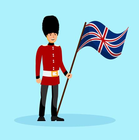 Beefeater, England-Königin-Wache-Vektor-Illustration. Mann in traditioneller britischer Militäruniform-Cartoon-Figur. Buckingham Palace-Sicherheitsperson, die Großbritannien-Flagge hält. Reise nach London