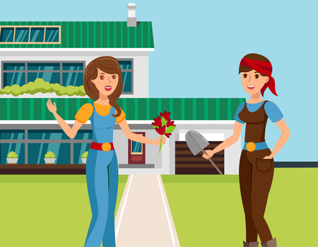 Two Female Neighbours Talking Vector Illustration. Cartoon Girlfriends Sharing Latest News, Gossiping. Young Gardener with Flowers Bouquet. Congratulations on Special Occasion. Friendly Dialog Ilustração