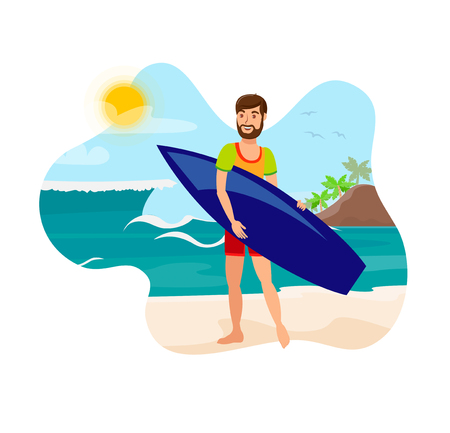 Surfing, Active Recreation Flat Color Illustration. Young Man in Beachwear Holding Surfboard Cartoon Character. Happy Surfer on Sunny Sea Shore. Summer Vacation, Travel, Extreme Lifestyle