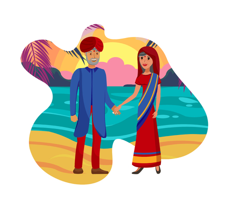 Old Married Couple, Husband and Wife Illustration. Man in Turban and Woman in Saree Dress Cartoon Characters. Cheerful Indian People in Traditional Outfits Holding Hands on Beach. Hindu Matrimony Banque d'images - 121210154