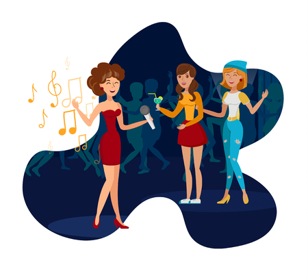 Night Club Party, Concert Flat Vector Illustration. Elegant Singer with Microphone and Guests Isolated Design Element. Cartoon Girlfriends Enjoy Bachelorette Party. Disco, Karaoke Bar, Beach Cafe