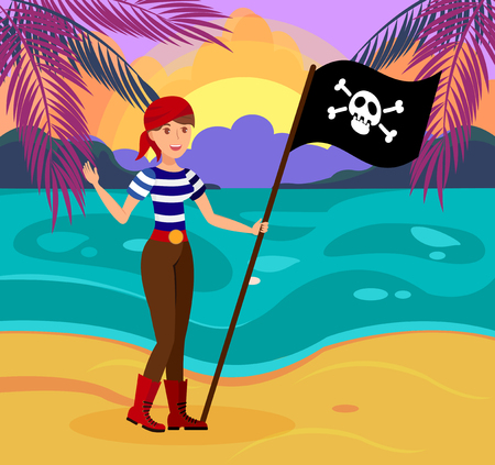 Friendly Female Pirate with Flag Flat Illustration. Young Woman in Striped T shirt Cartoon Character. Cheerful Lady with Bandana Holding Jolly Roger. Adventure Seeker Standing on Sea Shore 向量圖像