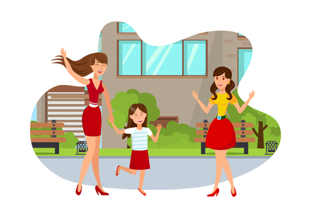 Young Mom with Girl Flat Isolated Illustration. Happy Girlfriends Meeting Outside Cartoon Characters on White Background. Two Sisters Going Play. Mother with Daughter Spend Time with Friend Ilustração