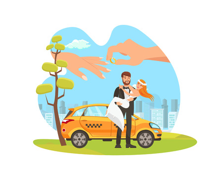 Car Rental for Weeding Flat Cartoon Illustration. Newlyweds, Just Married Couple Standing, Taxi Isolated Characters. Groom Holding Bride. Hand Putting Engagement Ring on Finger Design Element Vector Çizim