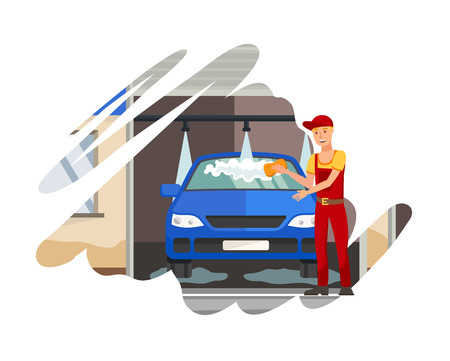 Car Wash Station, Service Flat Color Illustration. Guy in Overalls and Cap Cartoon Character. Cleaner, Employee Washing Vehicle, Sedan. Automobile Care Banner Template on White Background