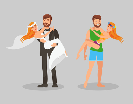 Wedding and Honeymoon Flat Vector Illustration. Newlyweds, Just Married, In Love Couple Cartoon Characters. Happy Groom Carrying Bride. Husband Holding Wife on Hands. Romantic Journey, Vacation, Trip