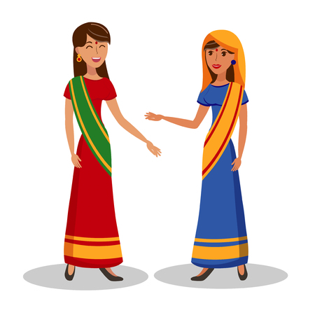 Beautiful Indian Women Flat Color Illustration. Pretty Girlfriends in Saree Dresses Cartoon Characters. Elegant Ladies in Traditional Clothing on White Background. Female Friendship Ilustracja