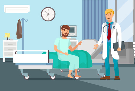 After Surgery Observation Flat Vector Illustration. Patient Sitting on Bed, Doctor with Stethoscope Cartoon Characters. Young Man in Clinic Concept. Hospital Interior Banner Çizim
