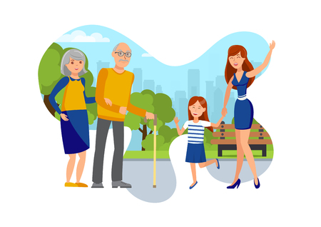 Girls Met Senior Couple on Street Flat Vector Illustration. Young Woman with Daughter and Grandparents Isolated Cartoon Characters. Two Sisters and Elderly Parents Walking in Park Design Element
