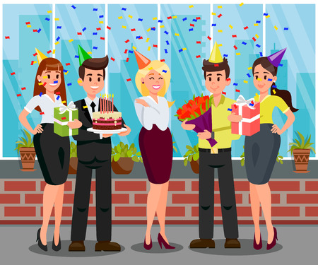 Surprise Birthday Party Flat Vector Illustration. Friends Greeting with Cake, Flowers and Gifts. Boss, Workers Congratulate Colleague with Career Growth. Frendly Staff, Coworkers Relationship