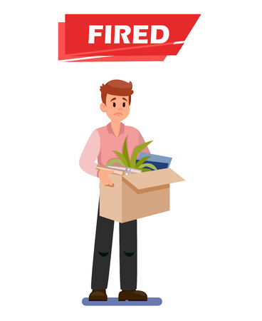 Fired Sad Employee Cartoon Vector Illustration. Guy with Box of Belongings Flat Clipart. Dismissal Text on Red Stripe. Office Worker Lost Job. Upset, Frustrated Character. Unemployed, Jobless Man Иллюстрация