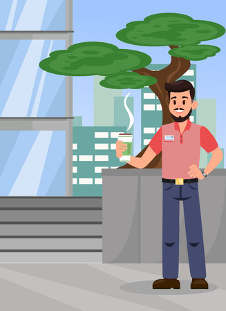 Man with Hot Coffee Color Flat Vector Illustration. Office Manager, Worker Standing near Bonsai Tree and Holding Hot Drink. City Apartment Building. Employee at Coffee Break Cartoon Character
