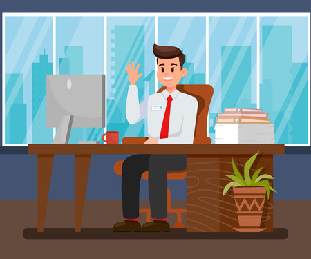 Project Manager Flat Vector Character. Friendly Consultant, Administrator. Happy and Satisfied Office Worker. Employee Working Cartoon Illustration. Bookkeeper, Marketer, Designer at Workplace Illustration