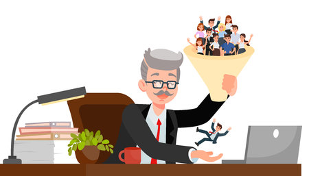 HR Manager Choosing Candidate Vector Illustration. Senior Boss Holding Recruitment Funnel. Human Models in Funnel. Employee and Employers. Applicants Cartoon Characters. Laptop on Office Desk
