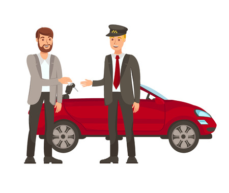 Driver and Passenger Flat Vector Illustration. Valet Parking. Call Cab. Businessman Gives Keys to Chauffeur Cartoon Characters. Transport Rental. Client and Driver Stand near Car Design Element