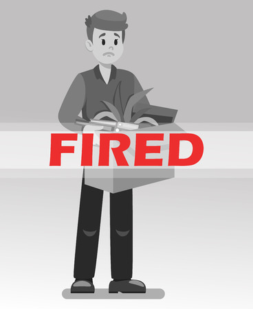 Employee Got Fired Cartoon Vector Illustration. Dismissal Monochrome Drawing with Red Text. Office Worker Lost Job. Man with Box of Belongings. Upset, Frustrated Character. Unemployed, Jobless