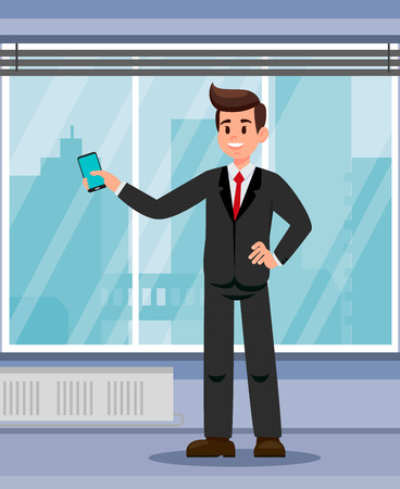 Office Worker with Smartphone Flat Vector Illustration. Confident Boss. Businessman Cartoon Character in Black Suit. Employer, Recruiter. Successful Man Vector. Cityscape View from Window 向量圖像
