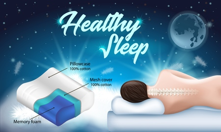 Advertising Flyer with Inscription Healthy Sleep. Banner Written: Memory foam Pillowcase and Mesh Cover 100 Percent Cotton. Vector Illustration Blue Background. Healthy Sleep on Right Pillow.