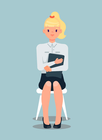 Blonde Businesswoman Flat Vector Illustration. Employee Waiting for Job Interview. Woman Holding Folder with CV, Resume, Portfolio. HR Manager. Shy Young Student, Teenager Sitting on Chair