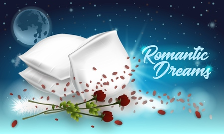 Vector Illustration Lettering Romantic Dreams. Horizontal Banner on Dark Background. Foreground Soft White Pillows and Red Roses with Petals. Postcard with Inscription. Downy Texture.