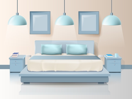 Modern Bedroom Design with Trendy Lighting Cartoon. Vector Illustration on Color Background. Bedding and Comfortable Pillows on Double Bed. Furnished Hotel Room. Bedroom and Furniture in Apartment