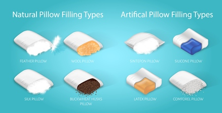 Banner Natural and Artifical Pillow Filling Types. Infographic with Caption: Feather, Wool, Silk, Buckwheat Huskc, Sintepon, Latex, Silicone, Comforel Pillow. Vector Illustration Fillers for Bedding.