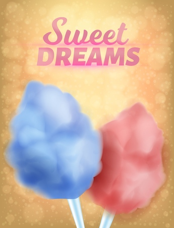 Realistic Banner Natural Colorful Sweet Dreams. Culinary Product Sweet Sugar, Loose in Consistency Culinary Product. Multicolored Air Sweetness on Stick. Vector Illustration on Color Background. Ilustração