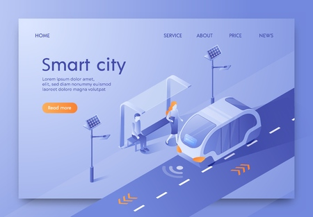 Vector Illustration Written Smart City Isometric. Information and Communication Technologies for Urban Property Management. Bus Stop Expect Man and Woman. Public Transport Goes on Highway. Ilustracja