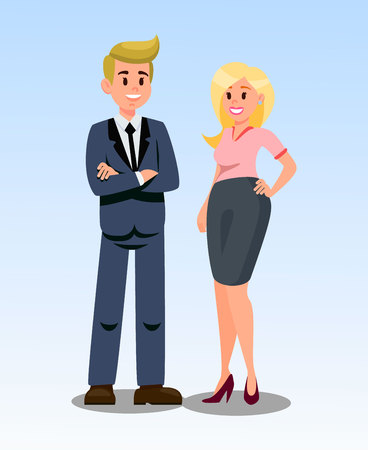 Businessman and Businesswoman Vector Illustration. Confident Boss Standing with Hands Crossed. Business Partners. Male Cartoon Character in Suit. Blonde Woman in Formal Clothes. Smiling Office Workers Ilustrace