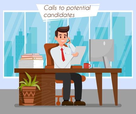 HR Manager at Workplace Color Vector Illustration. Employer Calls to Potential Candidates. Worker Talking on Phone. City View From Window. Computer, Folders on Desk. Boss with CV, Resume