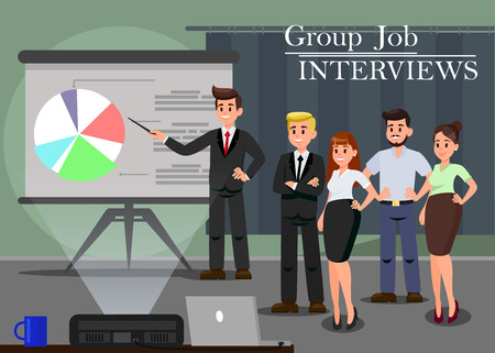 Group Job Interviews Flat Vector Illustration. Business Performance. Employee Cartoon Character. Statistics, Analytics, Business Metrics. Sales and Marketing Team. Projector, Laptop in Conference Hall 일러스트