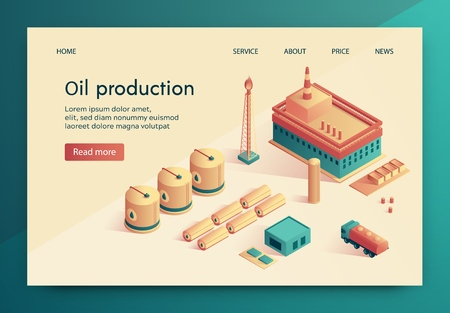 Vector Illustration is Written Oil Production. Fuel and Energy Complex for Extraction and Storage Oil. Top View: Large Tanks, Well with Burning Fire, an Administrative Building and Car.