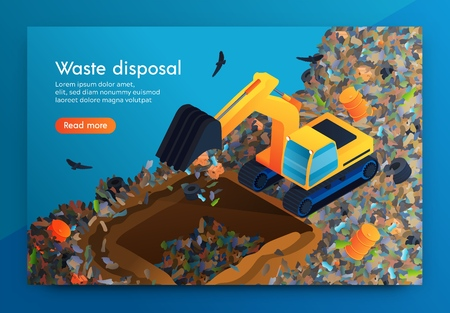 Flat Landing Waste Disposal at Huge Garbage Dump. Volunteer on Bulldozer Cleans Garbage Under Ground so that Decomposes there. Around Car Flying Crows. Disposal for Cleansing Planet from Waste Illusztráció