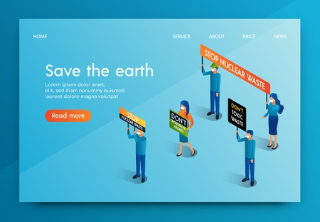 Isometric Banner People Meeting for Save The Earth. Men and Women Oppose Radioactive Release Biological Pollution our Planet Animal Welfare and Human Health Care. Fight Against Chemical Enterprises. Illustration