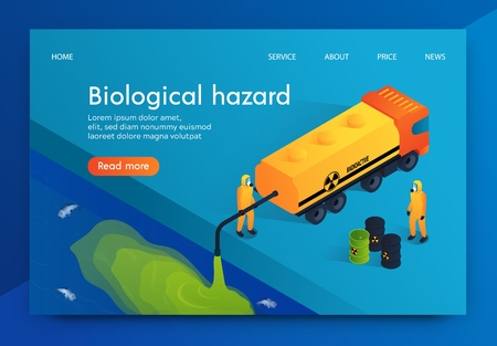 Flat Illustration Humanity Biological Hazard. Workers Chemical Plant are Dumping Radioactive Waste into Reservoir. Pollution Habitat Underwater Inhabitants Death River and Sea Fish. Vector Illustration