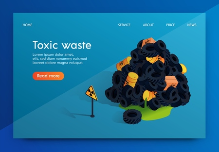 Vector Flat Banner Problem Factory Toxic Waste. Radioactive Nuclear Waste Dumps and its Storage is Dangerous Inhabitants Earth and Environment. Approaching Such Place for Men is Deadly.