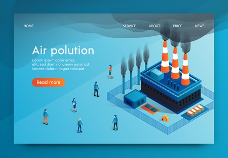 Vector Illustration is Written Air Polution 3d. Factory Pipes Harmful Substances in Form Smoke. Pollutes Air City and Impairs Health its Inhabitants. Increased Levels Hazardous Substances in Air. Vectores