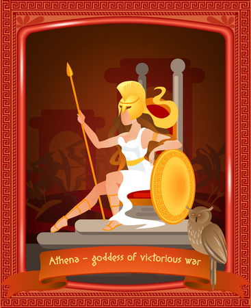 Flat Cartoon Athena Goddess of Victorious War. Vector Illustration on Color Background. In Foreground Sits Warlike Woman with Golden Helmet on her Head. On Inscription Sits Owl, Lettering.