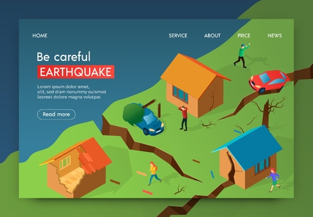 Vector Illustration Be Careful Earthquake Banner. Crack In Earth after an Earthquake. Men and Women Fleeing Homes to Safe Distance. Damage from Destruction Homes and Property, Isometric.