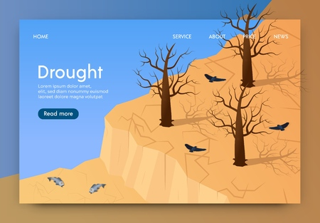Isometric is Written Drought Landing Page 3d. Climate Catastrophe Region. Earth is Dried Up by Heat Sun. Trees and Grass Died, Soil Cracked. Environmental Disaster. Vector Illustration. Illustration