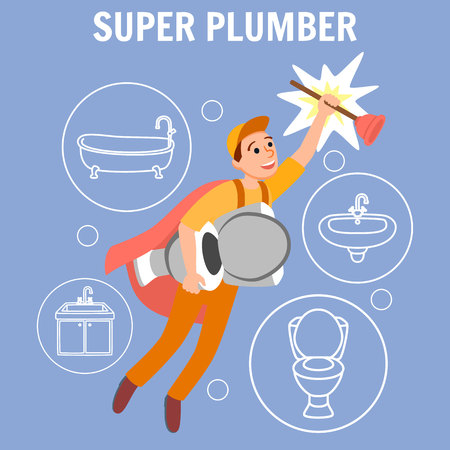 Super Plumber Vector Illustration. Funny Cartoon Superhero Repairman Uniform Cape with Plunger Toilet Bowl in Hand. Plumbing Concept Bathroom Bathtub Repair Toilet Clean Kitchen Sink Fix
