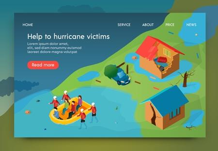 Isometric ist eine schriftliche Hilfe für Hurrikanopfer. Rettungsdienst evakuiert Bewohner aus vom Hurrikan zerstörten Häusern. Retter tragen Überschwemmungen von Booten. Zerstörung und Schäden durch Naturkatastrophen. Vektorgrafik