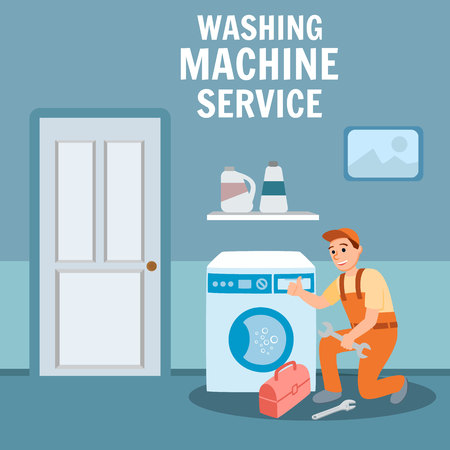 Washing Machine Service Concept. Plumber Specialist Repair with Plumbing Equipment Toolbox Wrench Tool Vector Illustration. Professional Repairman Handyman Worker Emergency Problem Fixing Illustration