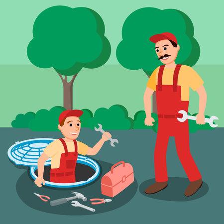 Two Repairman Plumber with Spanner Plumbing Equipment in Open Manhole at Street Vector Illustration. Sewage Repair Sanitary Inspection Water Sewerage System Maintenance Plumbing Service