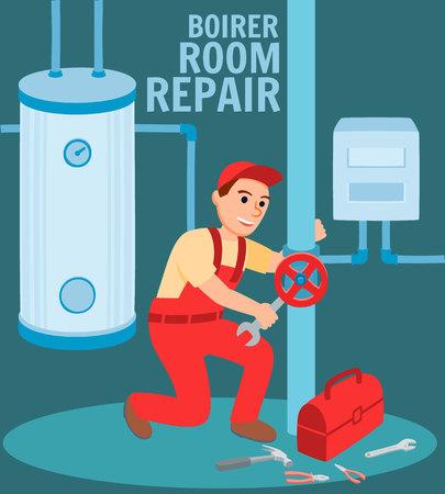 Boiler Repair Room Banner. Metal Modern Hot Water Heating System in Basement House Vector Illustration. Man Plumber Repairman Install Maintenance Gas Electric Heater Steel Tank Pipeline Ilustracje wektorowe